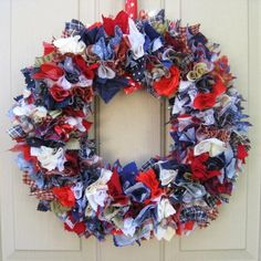 Patriotic Wreath Red White and Blue Wreath by AWorkofHeartSA, $85.00