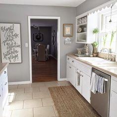 Neutral kitchen with open shelves kellyelko.com