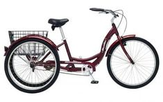Adult Schwinn Tricycle Three 3 Wheeled Trike Mens Womens Bicycle Red Mint Green Blue Silver Grey Bike with Metal Wire Shopping Basket Beach Cruiser Dark Cherry Red by Meridian ** You can find out more details at the link of the image-affiliate link. Tricycle Bike, Adult Tricycle, Trike Bicycle, Cruiser Bikes, Buy Bicycle, Bmx Bikes, Road Bikes, Third Wheel, Bicycle Women
