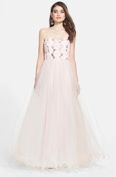 Speechless 'Princess Ballgown' Floral Bodice Tulle Gown