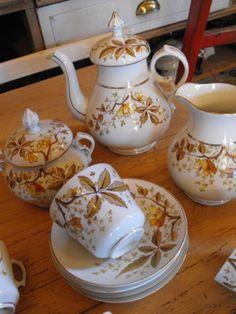 schönes, altes Kaffeeservice, Laub, 4 Personen   eBay