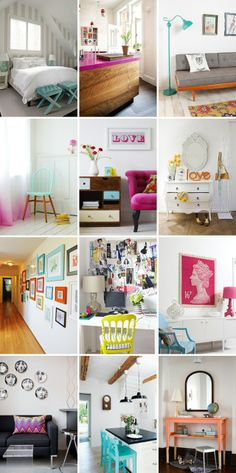 White walls with colored furniture... definitely doing this soon!