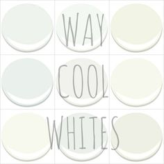 MY TOP PICKS - ALL BENJAMIN MOORE - FROSTINE, CHANTILLY LACE, CLOUD WHITE, DECORATORS WHITE, OXFORD WHITE, SIMPLY WHITE, SNOWFALL WHITE, WHITE CHRISTMAS AND WHITE DOVE. My Old Country House blog.