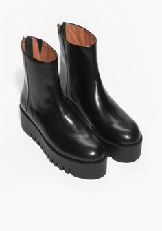 & Other Stories image 2 of Platform Ankle Boots in Black