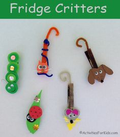 Cute little critters to attach to your refrigerator. Cat, mouse, dog, lady bug and caterpillar refrigerator magnets From Activities For Kids.com.
