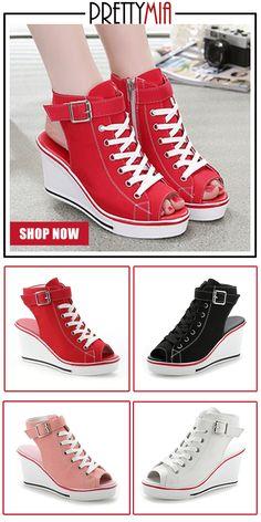fa05c0f9d33 Prettymia Plus Size Platform Peep Toes Wedges Sandals