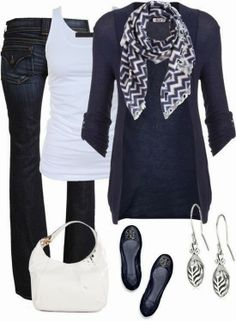 Fall Outfit With Blue Cardigan and Bell Bottoms, though I would switch out the bell bottoms for a straight leg jean.