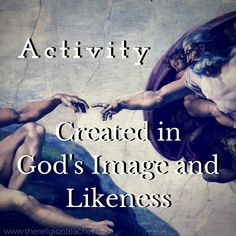 Image and Likeness of God Activity Creation Activities, First Day Activities, Bible Activities, Catholic Religious Education, Catholic Crafts, Help Teaching, Teaching Ideas, Catholic Confirmation, Religion Activities