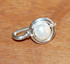 Pearl Belly Button Ring Belly Button Jewelry 18 by BirchBarkDesign