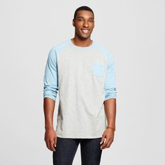 Men's Big & Tall 3/4 Sleeve Baseball Tee Blue 3XB - Mossimo Supply Co.