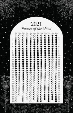 Print Calendar, 2021 Calendar, Bullet Journal Ideas Pages, Book Journal, Magick, Witchcraft, Moon Phase Calendar, Wiccan Spell Book, Moon Magic