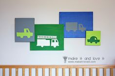 Painted canvases. I want to do this only with rocket ships for baby boy's room.