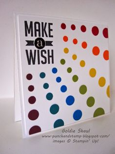 Punch and Stamp with Goldie: Rainbow Make a Wish Card