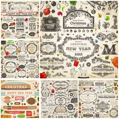 7 Sets of vector decorative ornamental Christmas design elements 2013 with vintage ornate labels, floral frames, lettering templates, badges and other classic design elements for your Christmas embellishment, greeting cards, invitations, brochures, etc. Format: EPS stock vector clip art and…