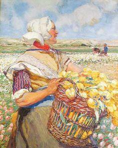 Hans von Bartels Dochter van de bloemenkweker, 1909 Bollenstreek ? Carola van Ham (Keulen), 1610 Yellow Tulips, Impressionist, Netherlands, Holland, Dutch, Old Things, Windmills, Explore, Landscape