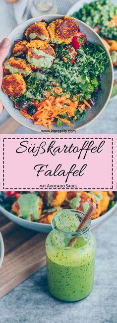 Süßkartoffel Falafeln mit Koriander Avocado Sauce - Klara`s Life
