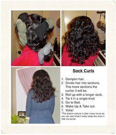 bringing back the sock curlers. Hair bringing back the sock curlers. Braided Hairstyles Updo, Scarf Hairstyles, Down Hairstyles, Updo Hairstyle, Braided Updo, Prom Hairstyles, Hairdos, Updos, Sock Bun Curls
