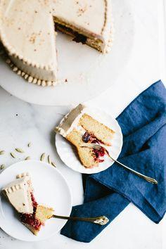 Cardamom Cake, Plum Jam + Coffee Buttercream - Not Without Salt