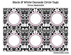 Black & White Damask Circle Tags