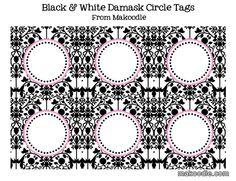 Black & White Damask Circle Tags