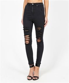 SUPER HI TRASHED BLACK CROP | Jeans | Clothing | Shop Womens | General Pants Online