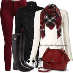 Oxblood jeans, mantel & rding boots fall outfit idea
