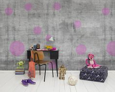 """""""I love when concrete meet paint, graffiti and tags. This is some sort of mix of the slightly hard concrete surface and only simple dots."""" says Isabelle. Bubbles Wallpaper, Kids Room Wallpaper, Photo Wallpaper, Wallpaper Murals, Amber Room, Kids Wall Murals, Studios, Kid Desk, Design Studio"""
