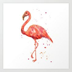 Flamingo, Pink Flamingo, Tropical, bird art, Florida Art Print by eastwitching - $20.00
