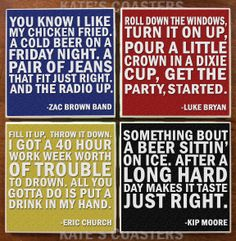 Set of 4 country quotes ceramic tile coasters by KatesCoasters, $10.00