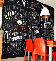 New art deco interior cafe wall decor Ideas Chalkboard Wall Art, Chalk Wall, Diy Wall Art, Home Decor Wall Art, Mexican Restaurant Decor, Tree House Interior, Chalk Lettering, Cool Art Projects, Inspiration Wall