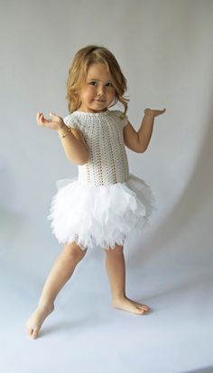 Cup sleeve tutu  dress with fluffy petals tulle skirt. Little Ballerina Dress with stretch crochet bodice
