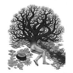 Juxtapoz Magazine - At the Trance Farm with Eric Beltz | Erotica Trance, Large Art, Erotica, Beast, Illustration Art, Statue, Artwork, Lovely Things, Trees