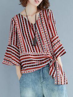 Folk Style Stripe Print Tie Sleeve V-neck Blouses Cheap - NewChic Mobile Cheap Blouses, Blouses For Women, Shirt Bluse, Folk Fashion, V Neck Blouse, Sewing Clothes, Stripe Print, Printed Blouse, Refashion