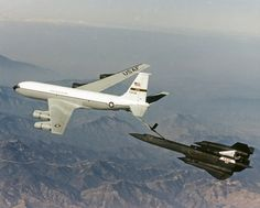 The NASA SR-71 Blackbird being Refueled by a KC-135 Tanker