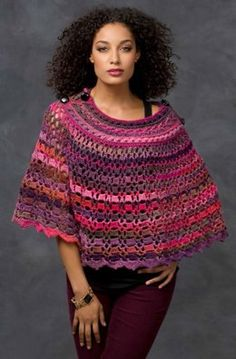 Dubonnet Poncho in Red Heart Boutique Unforgettable - LW3318