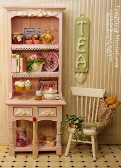 Wooden Wall Sign TEA 112th Dollhouse by TemptingMiniatures