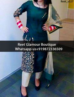Stunning Dark Green Embroidered Punjabi Suit Product Code : Reet_s327 To Order, Call/Whats app On +919872336509 We Offer Huge Variety Of Punjabi Suits, Anarkali Suits, Lehenga Choli, Bridal Suits,Sari, Gowns Etc .We Can Also Design Any Suit Of Your Own Design And Any Color Combination.
