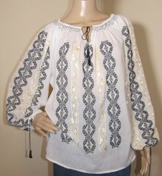 Black and yellow hand stitched Romanian blouse . Peasant Blouse, Silk Thread, Black N Yellow, Hand Stitching, Hand Sewing, Bell Sleeve Top, Blouses, Hands, Pure Products