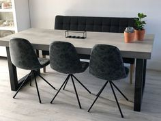 Betontafel met U-poot blad) - salas de jantar - - Dining Chairs, Dining Room, Dining Table, Kitchen Tables, House Extensions, Home Decor Kitchen, Luxury Interior, Living Room Designs, New Homes