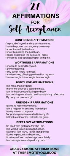One of the best ways to focus on self love is to change the way you speak to yourself with these 50 self love affirmations. Positive Affirmations Quotes, Self Love Affirmations, Morning Affirmations, Affirmation Quotes, Positive Mantras, Yoga Mantras, Money Affirmations, Meditation Mantra, Om Mantra