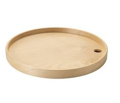 Oversized trays often can't fit in a cabinet. This one, however, can hang on a hook when not in use; see the hole? IKEA PS 2014 tray in birch, $10