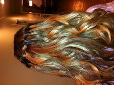 love my hair stylist - julie! :) waterfall braid with curls