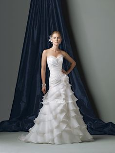 organza strapless a-line sweetheart ruched bodice asymmetrically tiered ruffle skirt wedding dress