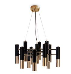 Ike suspension lamp is a vintage heritage, where gold and black are molten in one single design piece.  The structure of this mid century lighting is made in brass and its lampshades in aluminum. It's a choice to any living room or dining table which elects sophistication and luxury as its primary value.