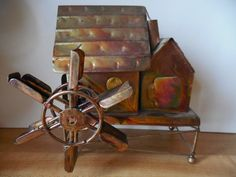 Vintage copper rustic metal water wheel by TillieLuvsTreasures