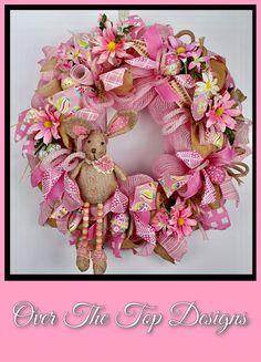 Bunny in Pink Burlap Easter Wreath
