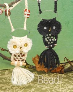 Cute Macrame Owl pendants by Helen Harle - learn to make these in Issue 43 of Bead magazine!