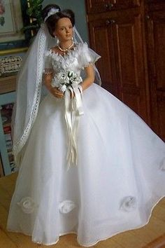 "Bride Doll Called ""White Roses"" Porcelain By Ashton Drake"