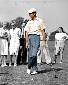 """Colorized"" - Ben Hogan leaning on his club at Hillcrest - 1946. Photo"
