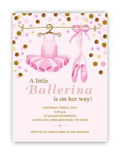 Little Ballerina Baby Shower invitation by glitterinvitescy
